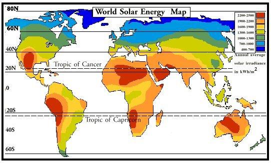 world solar energy map